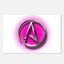 Atheist Logo (pink) Postcards (Package of 8)