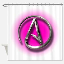 Atheist Logo (pink) Shower Curtain