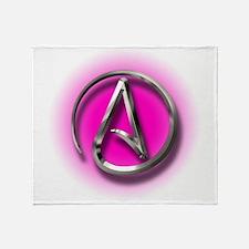 Atheist Logo (pink) Throw Blanket