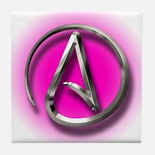 Atheist Logo (pink) Tile Coaster