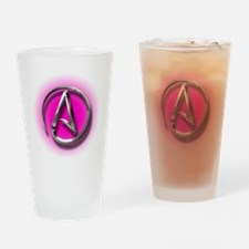 Atheist Logo (pink) Drinking Glass