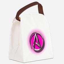 Atheist Logo (pink) Canvas Lunch Bag