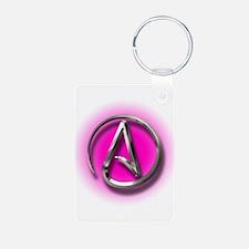 Atheist Logo (pink) Keychains