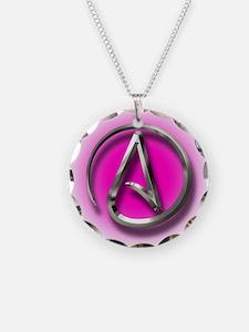 Atheist Logo (pink) Necklace
