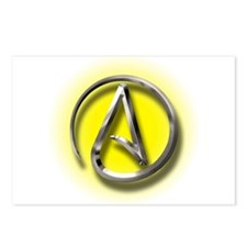Atheist Logo (yellow) Postcards (Package of 8)