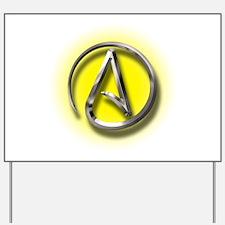 Atheist Logo (yellow) Yard Sign