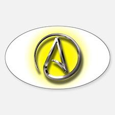 Atheist Logo (yellow) Sticker (Oval)