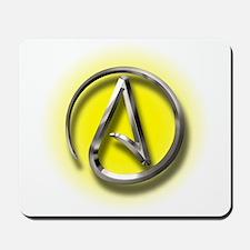 Atheist Logo (yellow) Mousepad