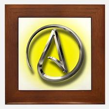 Atheist Logo (yellow) Framed Tile