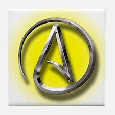 Atheist Logo (yellow) Tile Coaster