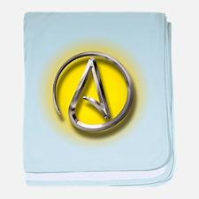 Atheist Logo (yellow) baby blanket