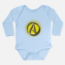 Atheist Logo (yellow) Long Sleeve Infant Bodysuit
