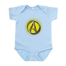 Atheist Logo (yellow) Infant Bodysuit
