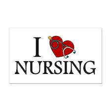 I Love Nursing Rectangle Car Magnet