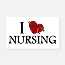 I Love Nursing Rectangle Car Magnet