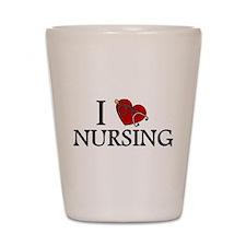 I Love Nursing Shot Glass