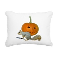 Squirrel Carving Pumpkin Rectangular Canvas Pillow