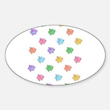 Rainbow Pig Pattern Sticker (Oval)