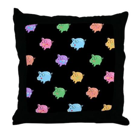 Rainbow Pig Pattern Throw Pillow