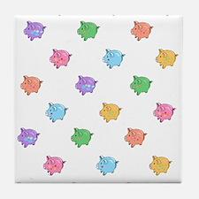Rainbow Pig Pattern Tile Coaster