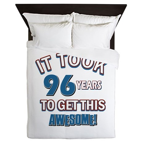 Awesome 96 year old birthday design Queen Duvet