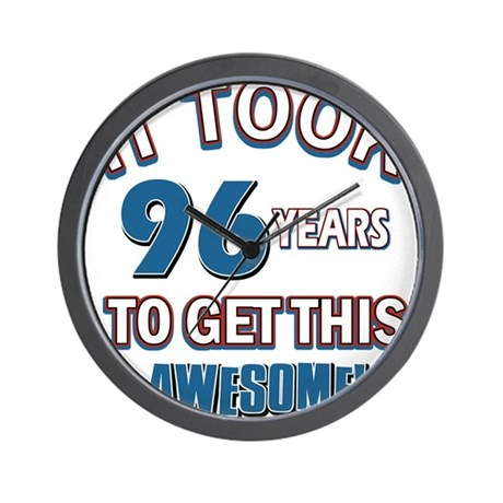 Awesome 96 year old birthday design Wall Clock