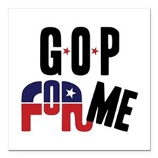 "GOP For Me Square Car Magnet 3"" x 3"""