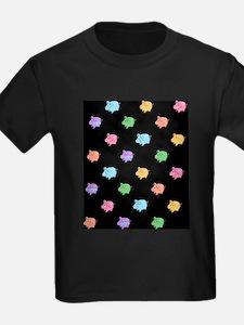 Rainbow Pig Pattern on Black T