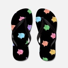 Rainbow Pig Pattern on Black Flip Flops