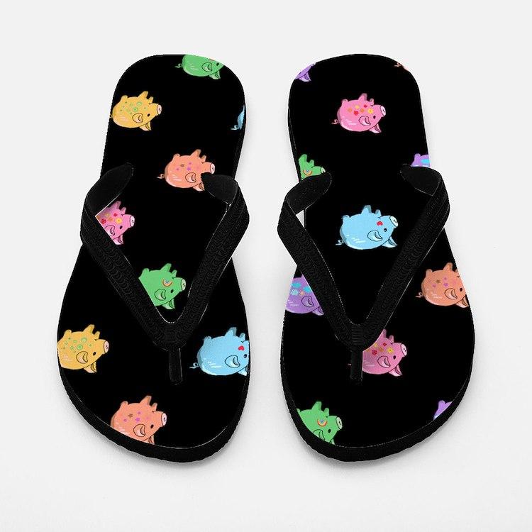 Rainbow Pig Pattern on Black Flip Flops