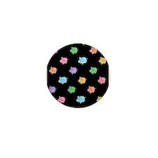 Rainbow Pig Pattern on Black Mini Button