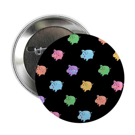"""Rainbow Pig Pattern on Black 2.25"""" Button (10 pack"""