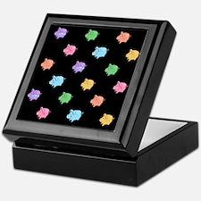 Rainbow Pig Pattern on Black Keepsake Box