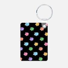 Rainbow Pig Pattern on Black Keychains