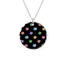 Rainbow Pig Pattern on Black Necklace