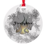 Firefighter Flame Tattoo Round Ornament