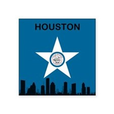 "Houston Flag and Skyline Square Sticker 3"" x 3"""