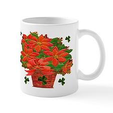 Poinsettia Shamrock Basket Mug