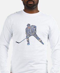 Hockey Player Typography Long Sleeve T-Shirt