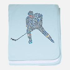Hockey Player Typography baby blanket