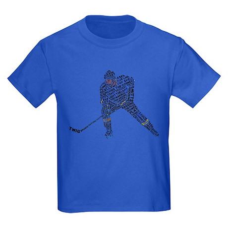 Hockey Player Typography Kids Dark T-Shirt