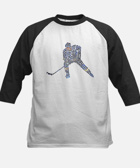 Hockey Player Typography Kids Baseball Jersey