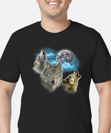 Wolves Moon Men's Fitted T-Shirt (dark)