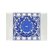 Blue & White Ming Porcelain Look Rectangle Magnet