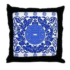 Blue & White Ming Porcelain Look Throw Pillow