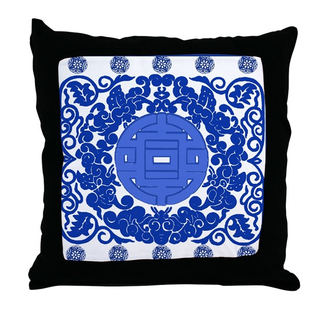 Porcelain Blue Decorative Pillows : Blue & White Ming Porcelain Look Throw Pillow by scarebaby