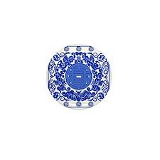 Blue & White Ming Porcelain Look Mini Button