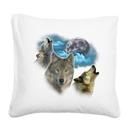 Wolves Moon Square Canvas Pillow
