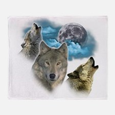 Wolves Moon Throw Blanket