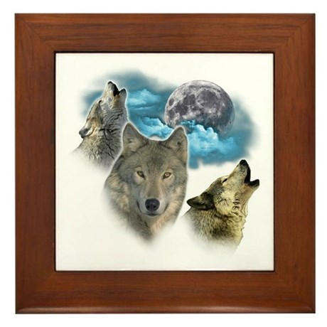 Wolves Moon Framed Tile